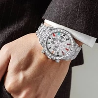 pintime top brand business leisure alloy luxury mens watch waterproof calendar night glory diamond quartz watch