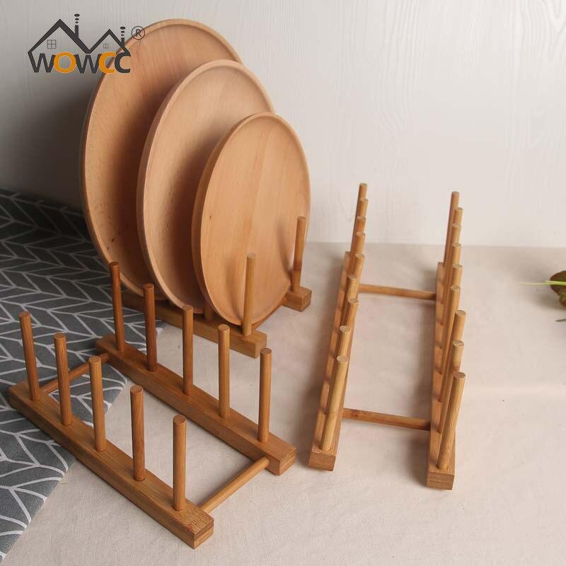 Сушилка для тарелок стойка бамбуковая Крышка для горшка держатель для хранения полка для Чаши Держатель для стакана витрина Подставка Для Сковороды кухонный Органайзер стойка для крышки горшка