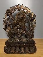 home decor 9 tibet buddhism old bronze cinnabars gilt six armed mahakala buddha statue big black sky enshrine the buddha