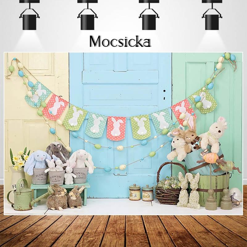 MOCSIKA Easter Eggs Backdrops for Photography Bunny Toy Decor Children Birthday Cake Smash Photocall Background Photo Studio