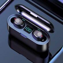 YPAY F9 Bluetooth 5.0 bouton tactile écouteur 8D stéréo sans fil écouteur LED affichage avec 2000mAh batterie externe casque avec MC