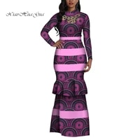 fashion african print dress for women long sleeve bodycon maxi mermaid dress bazin riche african clothing plus size wy4410