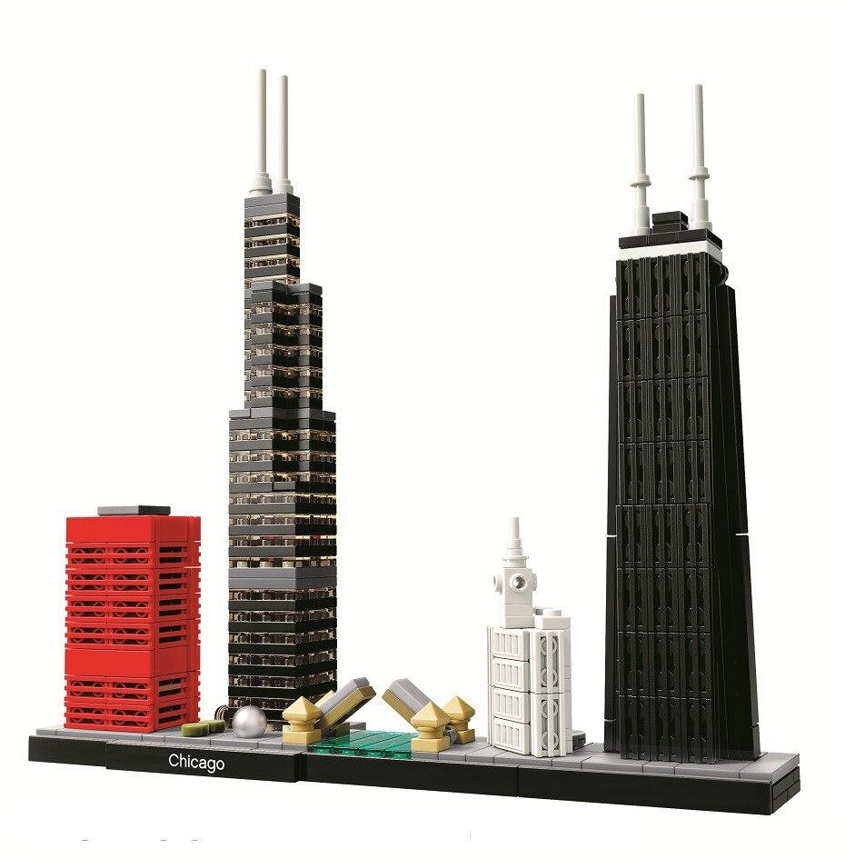 Bela 10677 архитектурное здание legoes наборы Чикаго 21033 Уиллис башня Модель Строительный блок кирпичи игрушки