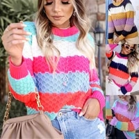 2021 women sweaters autumn winter tops pullover o neck long sleeve stripe knitted soft warm korea style patchwork coat outwear