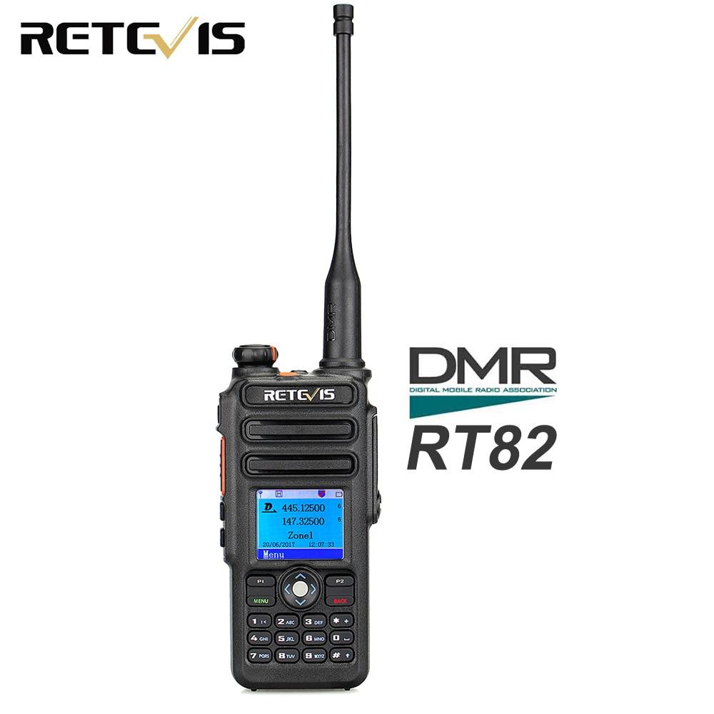 Dual Band DMR Retevis RT82 GPS Digital Radio Walkie Talkie 5W VHF UHF DMR IP67 Waterproof Ham Amateur Radio Transceiver+Cable