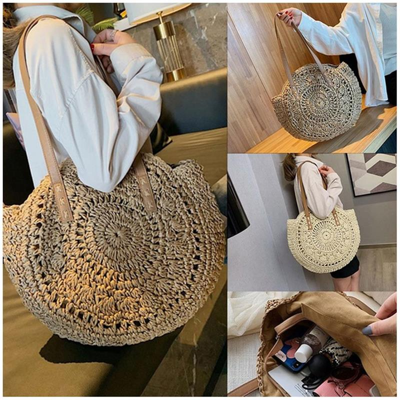 dusun summer bucket bag hand woven hollow out mesh shoulder handbag shopping bag vintage knitting large capacity women beach bag Hand-woven Round Woman's Shoulder Bag Handbag Bohemian Summer Straw Beach Bag Travel Shopping Female Tote Wicker Bags