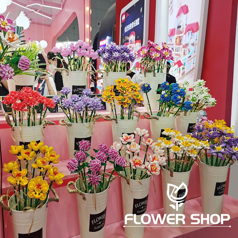 Ideas Creator Expert DIY Flower Bouquet Tulips Roses /Hibiscus/saffron/Chrysanthemum Modular MOC Bricks Model Building Blocks