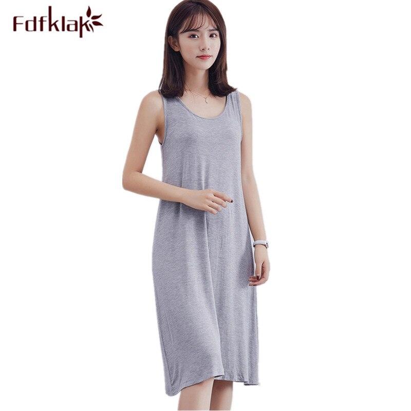 Sexy sleepwear camisola novas mulheres vestido de noite sem mangas modal de algodão camisola camisola fêmea magro camisola camisola ocasional