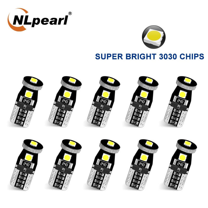 NLpearl 10x Signal Lamp T10 Led Canbus Bulbs 3030SMD W5W 168 194 Car Interior Lights Reading License Plate Light White Blue
