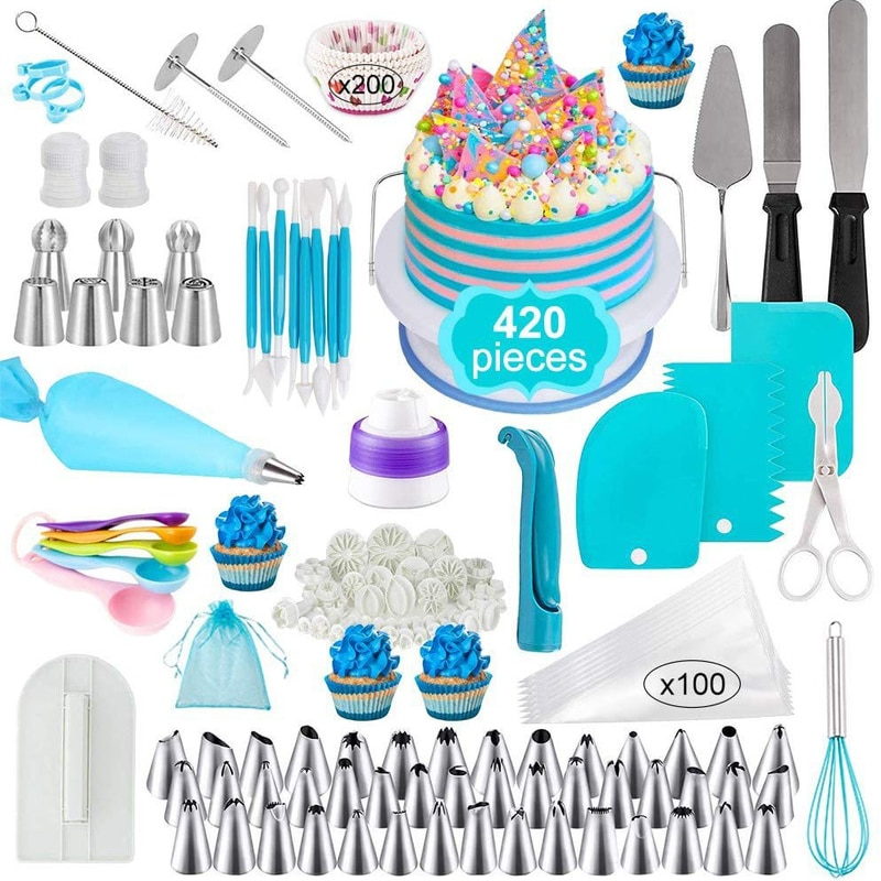 420Pcs Cake Decorating Tools Set Russian Decorated Paper Cup Nozzle Pastry Bag Spatula Carved Pen  Fondant Tool Measuring Spoon