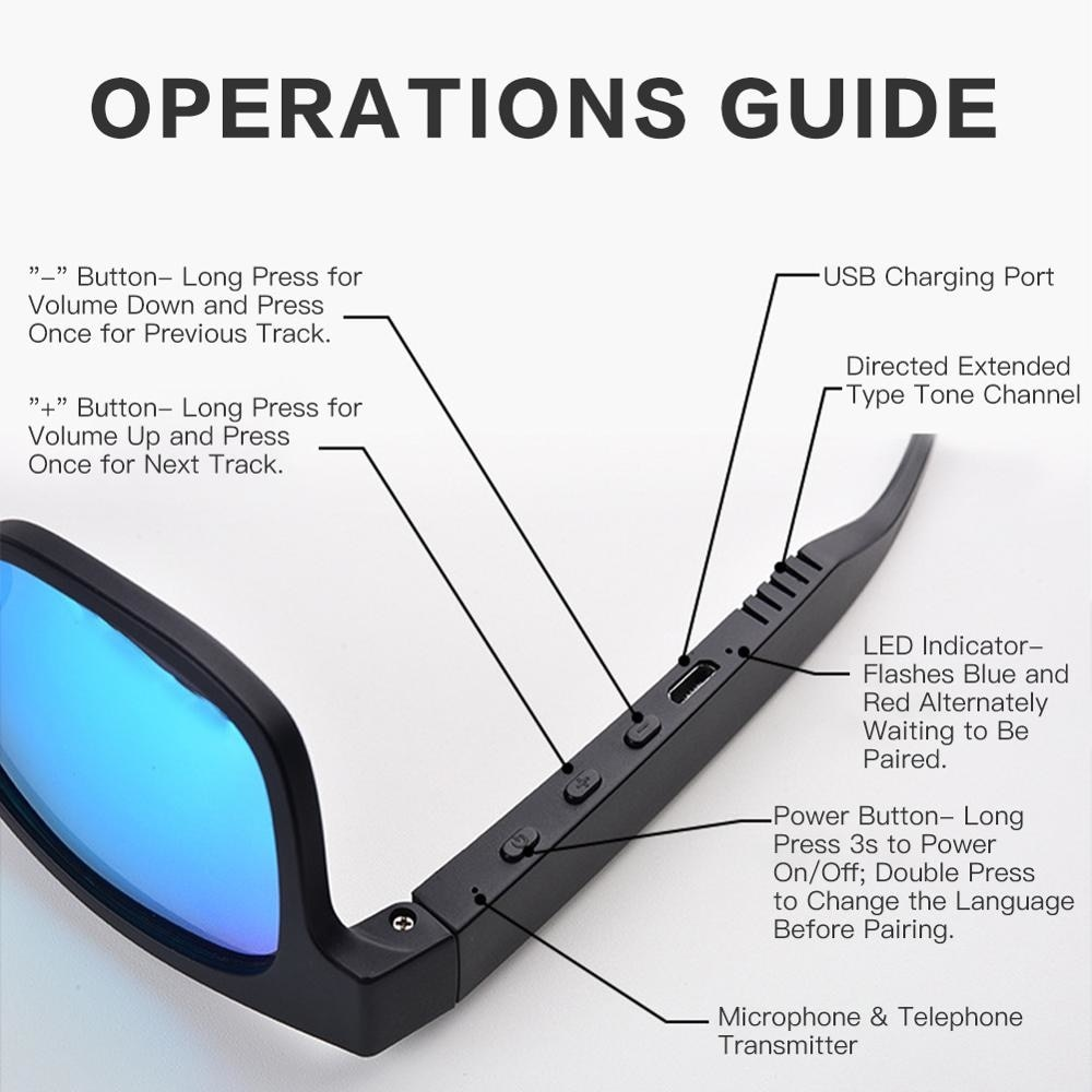 Smart glasses gl-a12, with Bluetooth, stereo, wireless, outdoor sports, audio enlarge