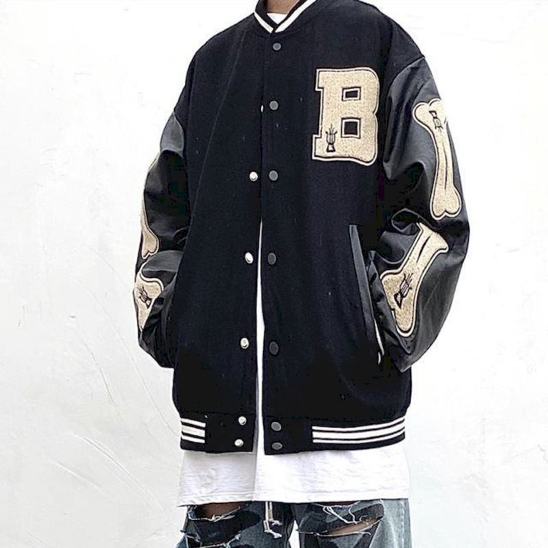 High street men's jacket spring autumn national fashion hip-hop woolen vintage baseball jacket men's loose street coat unisex