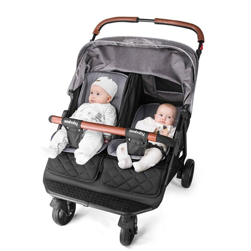 Doble Luz de cochecito, puede sentarse, cuatro ruedas, choque, carrito gemelo para bebé recién nacido