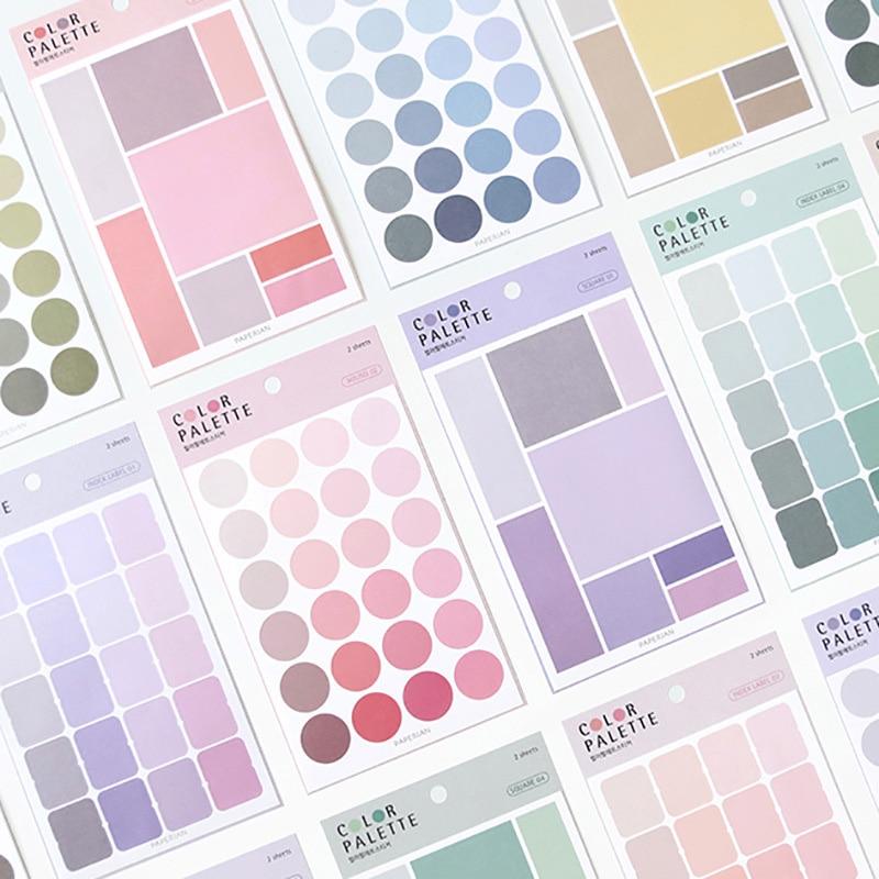 4 folhas cor sólida pontos etiqueta adesivos bonito papelaria adesivos decorativos diário adesivos para diy diário scrapbooking