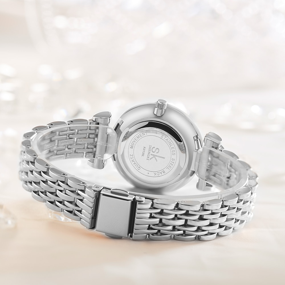 Shengke Women Quartz Watch Stainless Steel Band Shell Dial Surface Rhinestones Wristwatch Top Luxury  Ladies Creative Clock enlarge