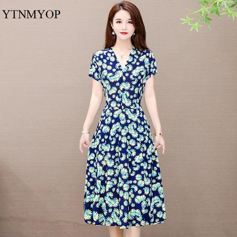 V-Neck Print Summer Dresses Holiday Long Dress Plus Size 6XL Women High Quality Floral Bohemian Casual Loose Vestidos YTNMYOP