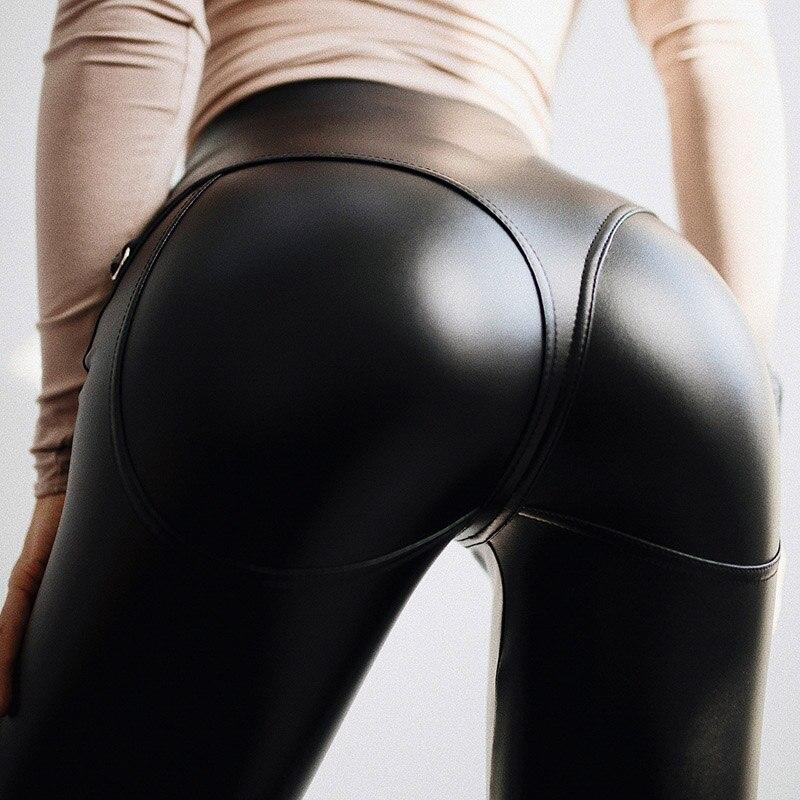Sexy Women Leggings Fake Leather High Waist Push Up Zipper Jeggings Polyesrer Black Skinny Party Female Leggings