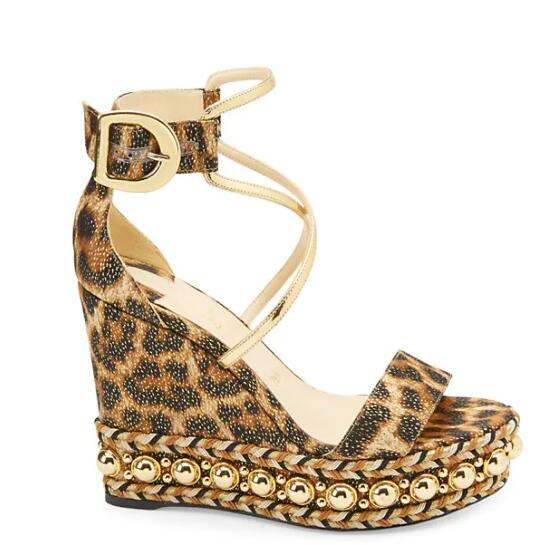 Morima Snc مثير ليوبارد طباعة جلدية صندل خشبي المفتوحة تو أحذية منصة أحذية النساء الصيف عبر تعادل المسامير
