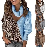 2021 autumn winter casual women sweater leopard patchwork hollow out lantern sleeve turtleneck knitted pullover for daily wear
