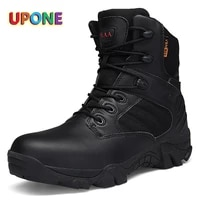 winter hiking boots black high top non slip big size climbing men sport shoes outdoor leather platform army boots botas tacticas