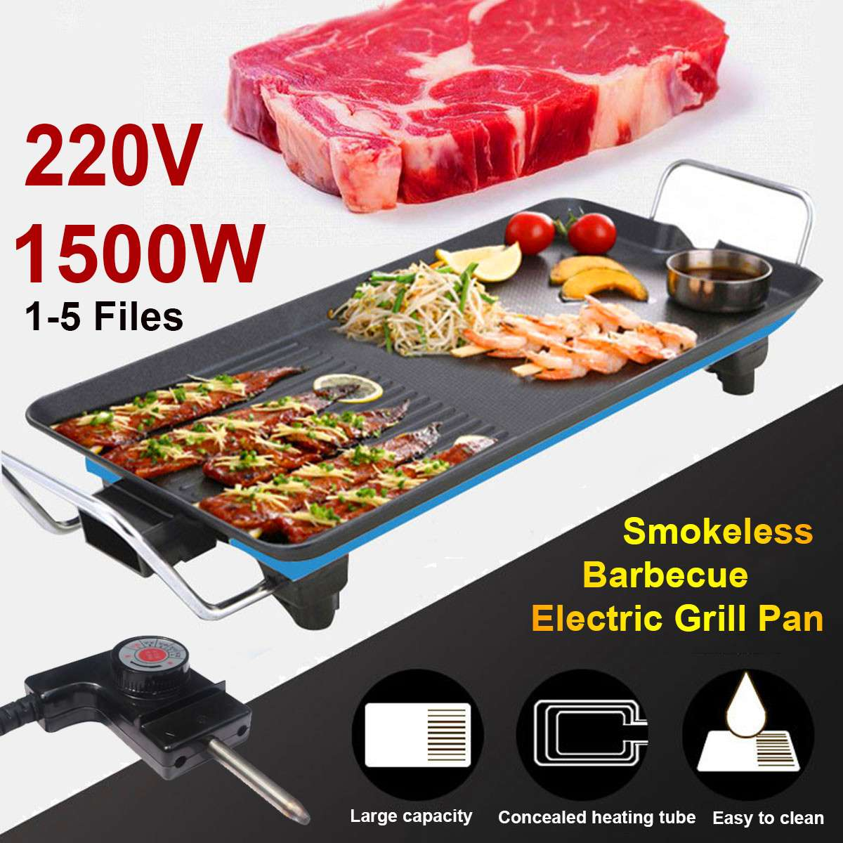1500W 68cmx28cm Household Electric BBQ Grill Smokeless Non-Stick Barbecue Grilled Meat Pan Electric Baking Hotplate Teppanyaki