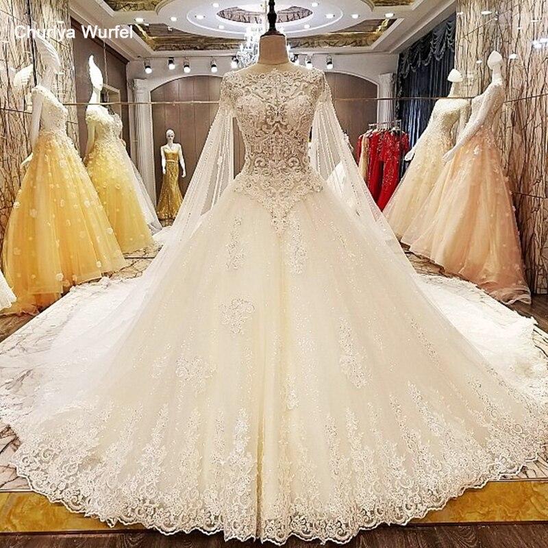 LS63889 trajes de novias 2018 nuevos ball gown transparent zipper back cap sleeves newest wedding dresses real photos