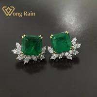 wong rain 925 sterling silver created moissanite emerald gemstone wedding engagement ear studs earrings fine jewelry wholesale