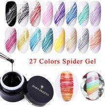 BORN PRETTY 5 мл Гель-лак для рисования ногтей краска для ногтей линия для дизайна ногтей густая упругая краска УФ-гель отмачиваемый гель-паук