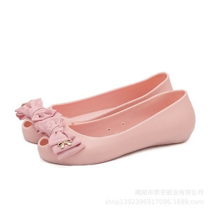 2019 summer new ladies sandals wild fish mouth hole beach jelly shoes flat flat with bow sandals female