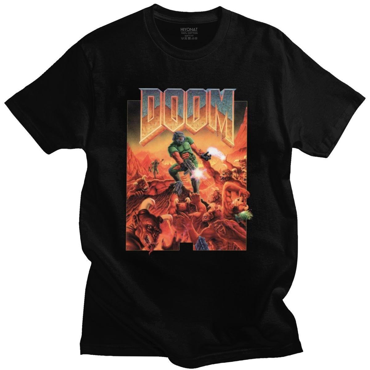 Camiseta Cool Doom de manga corta para hombre, camiseta de videojuego eterno, Camiseta de algodón suave, camiseta de culto de serpiente Bárbara, regalo