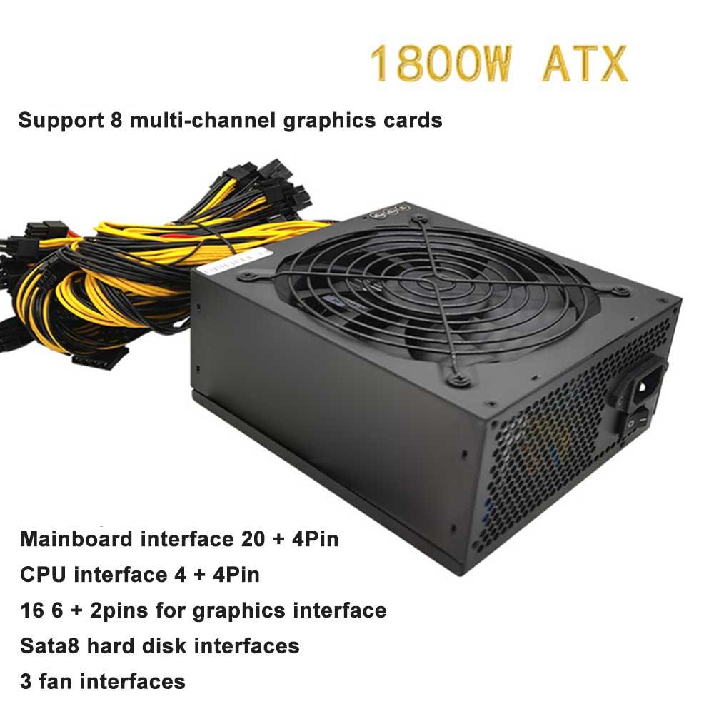 1800 واط ATX التعدين إمدادات بطاقة الآلة مجموعة 180 فولت-265 فولت المدخلات دعم متعدد القنوات 8 الراقية موفر طاقة شامل ديسبالي بطاقات