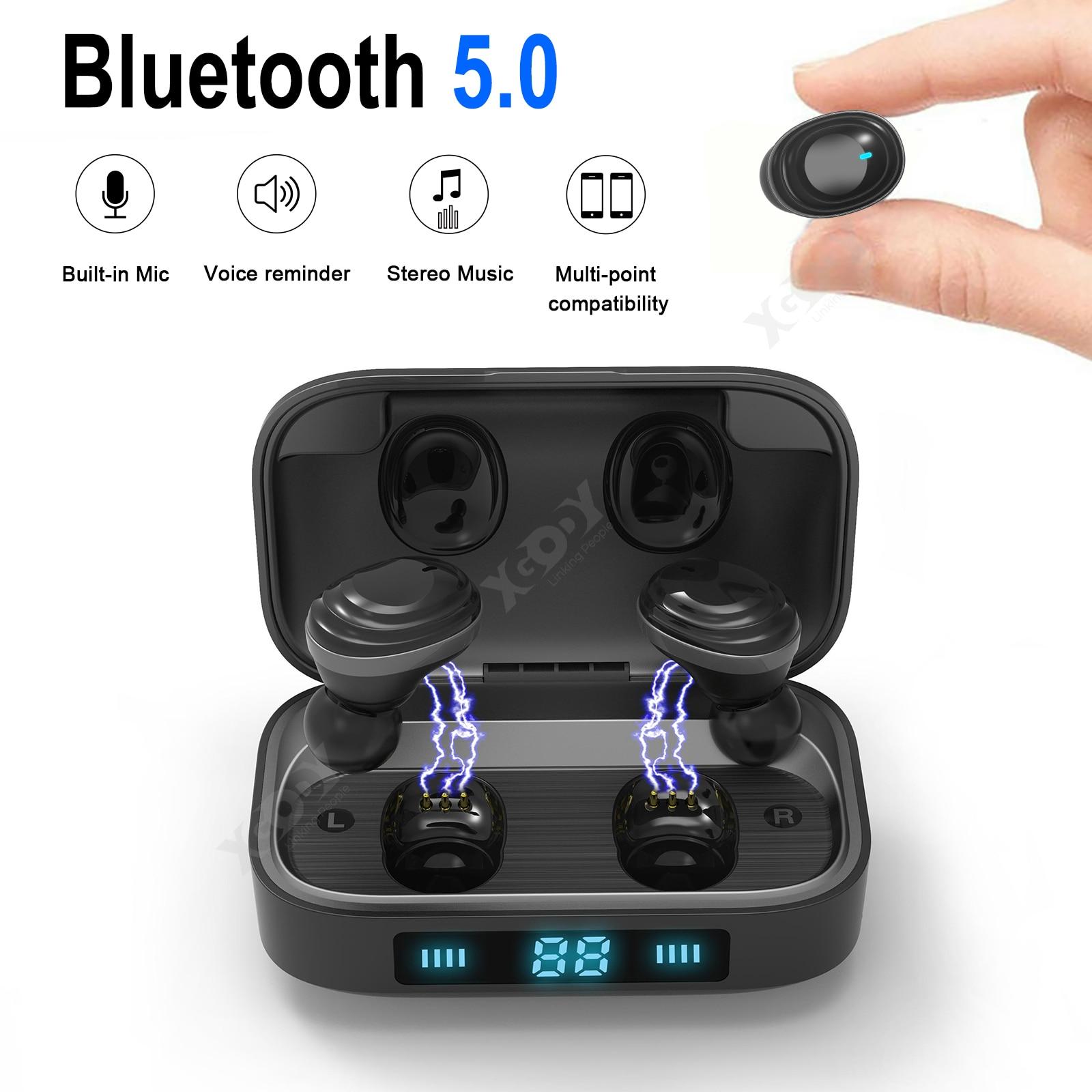 XGODY H01 9D TWS Verdadeiro Fones de Ouvido Bluetooth Sem Fio Bluetooth 5.0 Fone De Ouvido Estéreo Música Fones De Ouvido Controle de Toque 2000mAh LED Displa