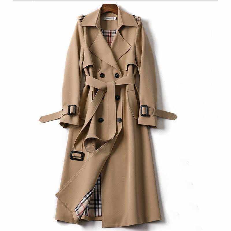 Fashion Trench Coat Women Windbreaker Casual Oversize Color Blocking Patchwork Plus Size Loose Outwe