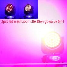 2 개/몫 4 개/몫 led 워시 줌 36x12w rgbw 4in1 또는 36x18w rgbwa uv 6in1 움직이는 빛 단계 워시 dj 움직이는 머리 장비