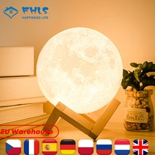 3D Print Decoration Lights Two Colors Touch Control Recharge Moon Light Night Decor Creative Gifts F