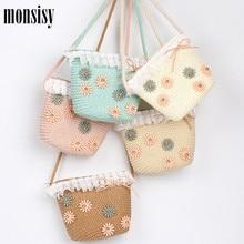 Monsisy 2020 Girls Beach Bag Straw Handbag Children Wallet Shoulder Bag Summer Kid Coin Purse Baby Handmade Knitted Rattan Bags