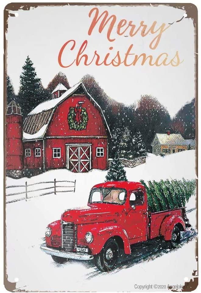Angeloken-cartel de Metal Vintage, cartel de Feliz Navidad para placa, arte mural,...