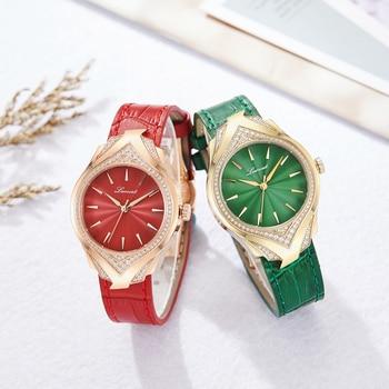 LUOSCAT Genuine watch female fashion trend waterproof leather belt female watch diamond-set ladies watch simple atmosphere