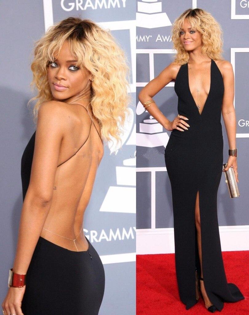 Black Formal Celebrity Dresses Mermaid Deep V-neck Backless Slit Sexy Long Evening Dresses Famous Red Carpet Dresses