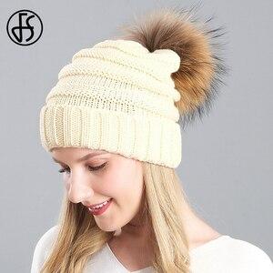 Женская Вязаная Шапка-бини FS, теплая вязаная шапка с помпоном из кроличьего меха, зеленого и бежевого цвета, зима 2019