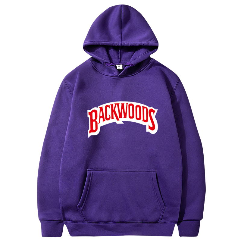 Man Loose Hoodies Streetwear Soft Letter BACKWOODS Printed Simple Plus Size Men's Clothing Pullovers Sweatshirts Fashion Trend  - buy with discount
