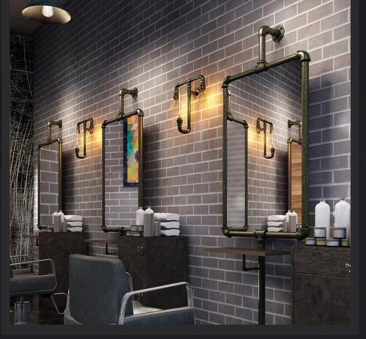 Ретро промышленный парикмахер, зеркальная подставка, водопроводная труба, железный парикмахерский салон, стрижка, напольное крепление, дву...