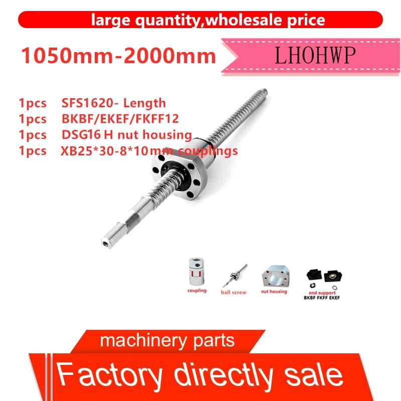 SFS1620 ball screw length 1050-2000mm+SFS silent nut + BKBF/EKEF/FKFF12+DSG16H+XB25*30 for CNC3D printer standard processing