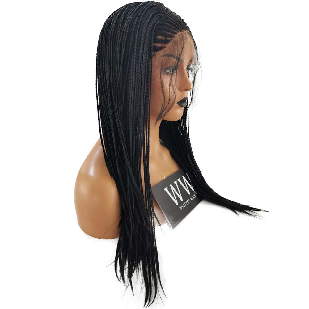 FANXITON Braided Box Braids Wigs High Temperature Fiber Hair Synthetic Lace Front Wig For Black Women Black Hair Lace Wigs enlarge