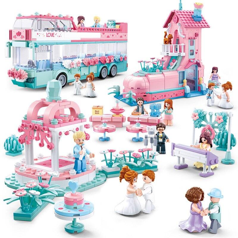 Friends Pink House City Bus Race Car Building Block Princess Prince Wedding sets Romantic Amusement