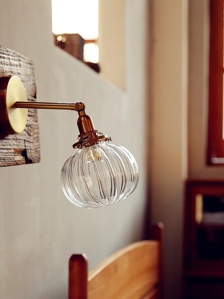 Nordic Japanese Style Copper Wall Lamp Bedroom Bathroom Mirror Light Modern Glass Ball Wall Lights Fixtures Stair Lighting
