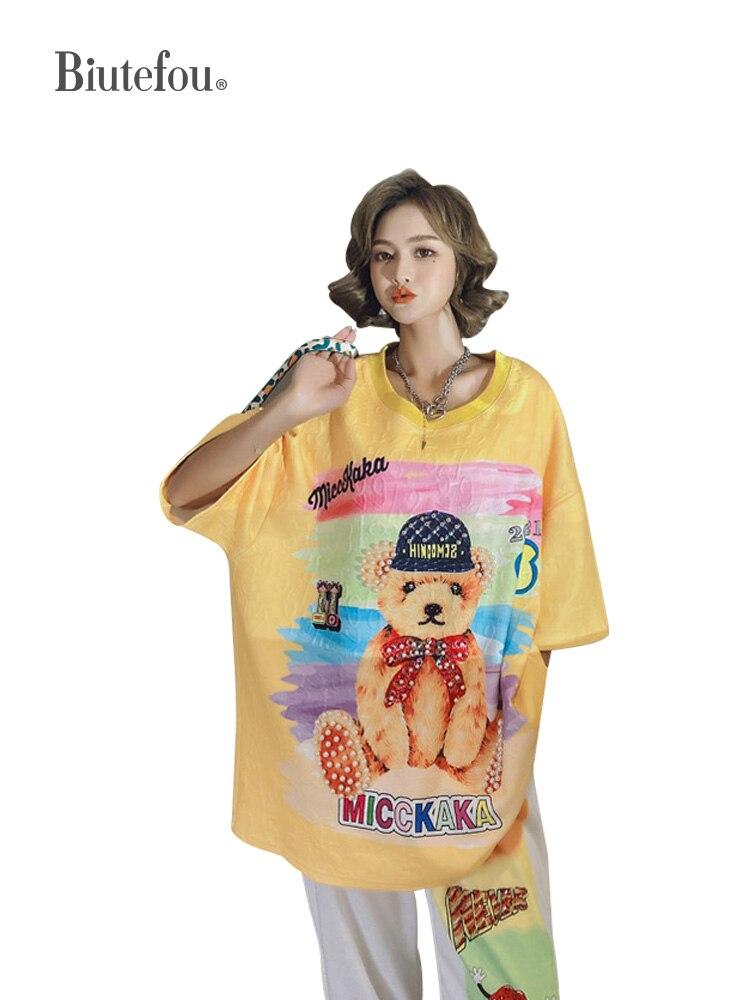 2021 Spring Women Long Beading Loose T-Shirt