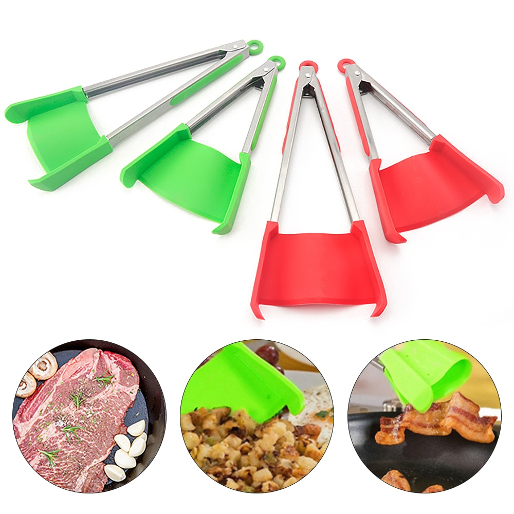 2 In 1 Creative Kitchen Spatula And Tongs Nonstick Heat Resistant Stainless Steel Frame Silicone Tongs Kitchen Gadget 9/12 Inch
