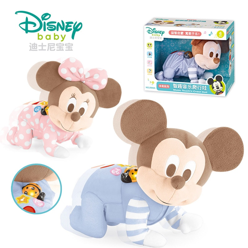 Disney genuine Hongxing children plush doll Mickey Minnie electric crawling doll with music