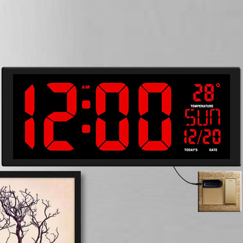Reloj de pared Digital grande diseño moderno sala de estar gran tamaño pantalla LED calendario reloj de día Reloj de pared decoración del hogar